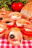 Mini garneli kanapki Obrazy Stock