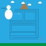 Mini labirinto con il pupazzo di neve Fotografia Stock Libera da Diritti