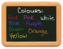Mini lavagna del bambino - colori Fotografia Stock