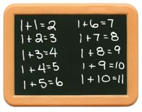 Mini lavagna del bambino - per la matematica Immagini Stock Libere da Diritti