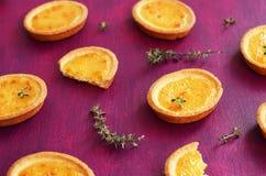 Mini lemon tart with thyme Stock Photo