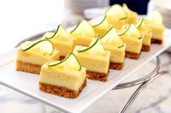 Mini lemoon cheese cake on disc Royalty Free Stock Photo