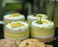 Mini lime cheesecake in a glass jar royalty free stock image