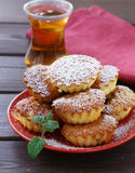 Mini madeleine muffins with powdered sugar Royalty Free Stock Images