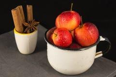 Mini manzanas en taza en fondo negro Fotografía de archivo