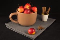 Mini manzanas en taza en fondo negro Imagen de archivo