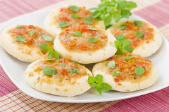 Mini Margherita Pizzas Image libre de droits