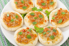 Mini Margherita Pizzas Royalty Free Stock Photography