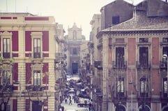 Mini market on the morning street of Catania. Stock Photography