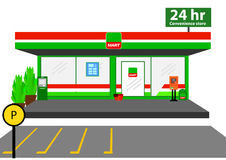Mini market shop facade retail trade 24 hours. vector illustration