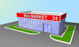 Mini market shop facade retail trade 24 hours Royalty Free Stock Photo