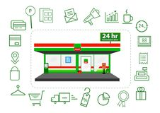 Mini market shop facade retail trade 24 hours with icons business.illustrator.  Royalty Free Stock Images