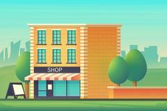 Mini- marknad eller att shoppa lagret Shoppa byggnad med englasad skyltfönster reflekterad flod för stadskremlin liggande natt Il vektor illustrationer