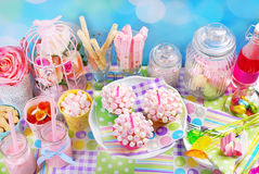 Mini marshmallow cupcakes for birthday party Royalty Free Stock Images