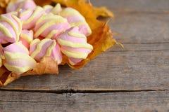 Mini marshmallows doces nas folhas de outono amarelas e em um fundo de madeira rústico com espaço vazio para o texto fotos de stock royalty free