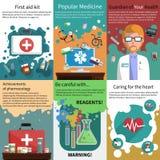 Mini medicine poster muliticolored set Stock Photo