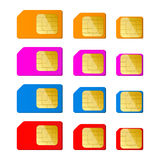 Mini, micro, nano sim card in red, blue, pink, orange color Stock Photo