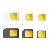 Mini, micro, nano sim cards in black and white color. Vector illustration. EPS 10 Royalty Free Stock Images