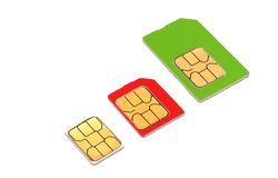 Mini micro nano SIM cards Stock Photography