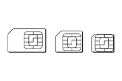 Mini, micro, nano sim cards silhouette outline. Vector illustration. EPS 10 royalty free illustration