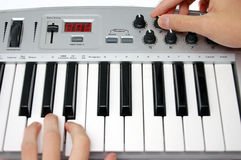Mini midi keyboard controller Royalty Free Stock Photos
