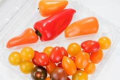 Mini miscela di verdure con i peperoni ed i pomodori Fotografia Stock Libera da Diritti