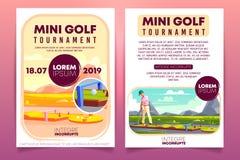 Mini modello di vettore dell'aletta di filatoio dell'annuncio di torneo di golf illustrazione vettoriale