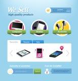 Mini modelo del Web site del comercio electrónico stock de ilustración