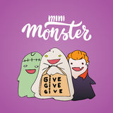 Mini monster - Halloween party hand drawn lettering and sketch card with children dressed in a vampire costume, ghosts Stock Photos