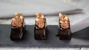 Mini- moussebakelseefterrätt som täckas med chokladglasyr och jordnötter Modern europeisk kaka Fransk kokkonst arkivfilmer
