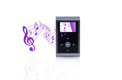 Mini MP3 portable Music with pentagram Royalty Free Stock Images