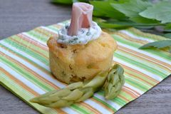 Mini muffin with asparagus. And cooked ham Royalty Free Stock Photography