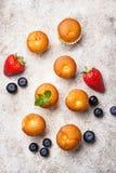 Mini- muffin för sommar med bäret royaltyfri foto