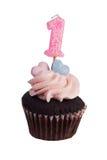 Mini- muffin med nummer en stearinljus Fotografering för Bildbyråer
