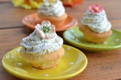Mini- muffin med vallmo ser glasyr på kaka Arkivbilder