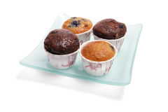 Mini Muffins on Glass Plate Royalty Free Stock Image