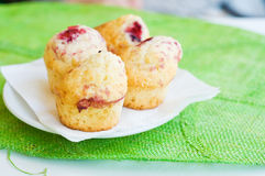 Mini muffins with vanilla and raspberries Royalty Free Stock Image