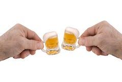 Mini Mugs of beer Stock Photography