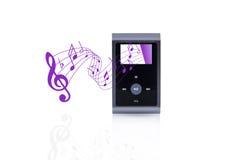 Mini musica portatile MP3 con il pentagramma immagini stock libere da diritti