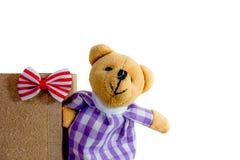 Mini netter Bär mit rotem Bogen Stockfotos