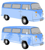 Mini ônibus azul Imagem de Stock Royalty Free