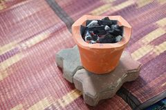 Old charcoal stove with charcoal ignited Prepare for cooking. Mini old charcoal stove with charcoal ignited Prepare for cooking Stock Image