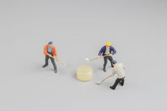 Mini of painters of workers with candy Royalty Free Stock Images