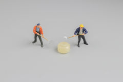 Mini of painters of workers with candy Royalty Free Stock Photo