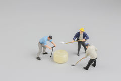 Mini of painters of workers with candy Stock Photo