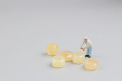Mini of painters of workers with candy Stock Image