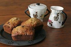 Mini pan de la viruta de chocolate del plátano - 3 fotos de archivo libres de regalías