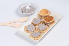Mini pancake topped stirred taro. Royalty Free Stock Photos