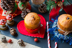 Mini panettone with Christmas decoration, Royalty Free Stock Image