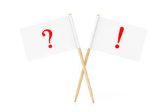 Mini Paper Pointer Flags avec des marques d'exclamation de question 3d ren Images libres de droits